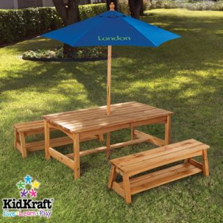 KidKraft Personalized Kids 3 Piece Table and Bench Set