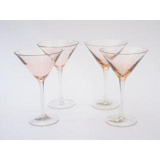 Certified International Glass Stemware Pink Martini Glasses (Set of 4
