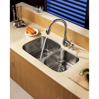 Kraus Stainless Steel Undermount 32 Double Bowl Kitchen Sink with
