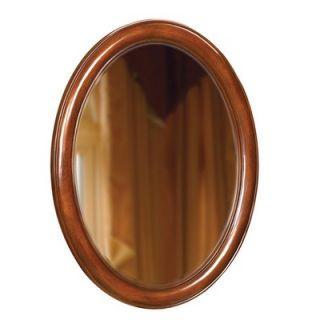 Belle Foret Oval 33 x 25 Bathroom Vanity Mirror in Dark Cherry