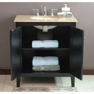 Virtu Padora Single 32 Bathroom Vanity in Black   LS 1037T