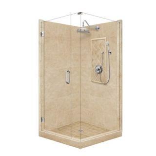 Grand Pivot Door Front and Left Threshold Shower Enclosure   P21 35