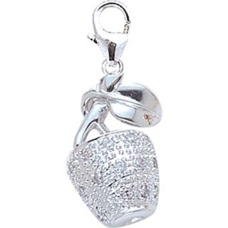 EZ Charms 14K 1.37 Grams White Gold Diamond Apple Charm