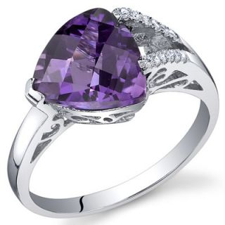 Oravo Dazzling Color 3.50 Carats Trillion Checkerboard Cut Ring in