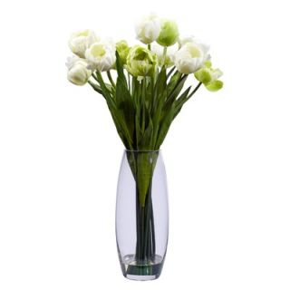 Nearly Natural Tulip with Vase Silk Flower Arrangement
