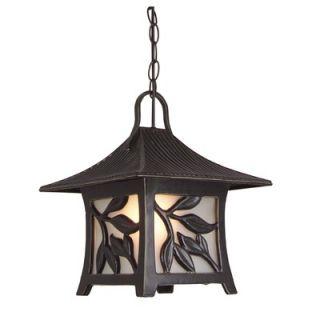 Hanging Pendant Lantern with Leaf Detail in Antique Bronze   Z7061 63