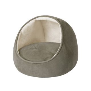 Soft Touch Faux Suede Hooded Snuggler Cat Bed with Cushion in Sage