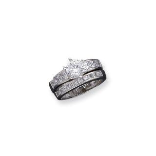 Jewelryweb 2 Piece Sterling Silver Round Cut Cubic Zirconia Wedding