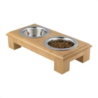 QT Dog Small Wooden Raised Double Dog Feeder