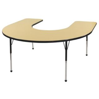 60 x 66 Horseshoe Shaped Adjustable Activity Table in Maple