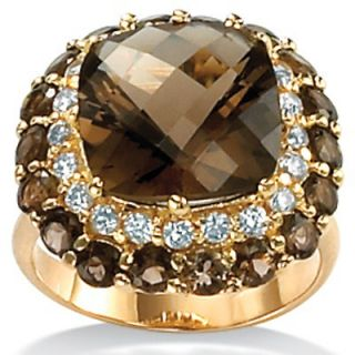 Palm Beach Jewelry Smoky Quartz 18K / Sterling Silver Ring