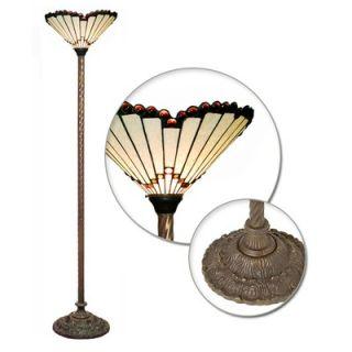 Warehouse of Tiffany White Jewel Torchiere Lamp   1483+BB75B