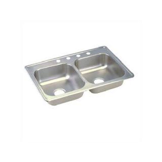 Elkay Dayton 33 x 22 Top Mount Stainless Steel Double Bowl Sink Set