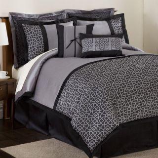 Lush Decor Geometrica Bedding Collection in Black / Silver
