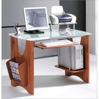 Glass Top Computer Desk with Side Rack and CPU Holder   G 120