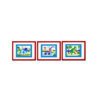 Dinosaur Land Print with Red Frame (Set of 3)