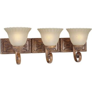 Forte Lighting Three Light Vanity Light with Umber Mist in Rustic