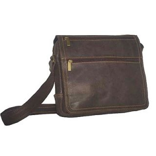 David King Small Laptop Messenger in Distressed Leather
