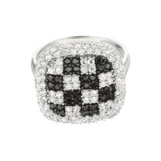 Sterling Silver Micro Set 128 Cubic Zirconium Square Fashion Ring