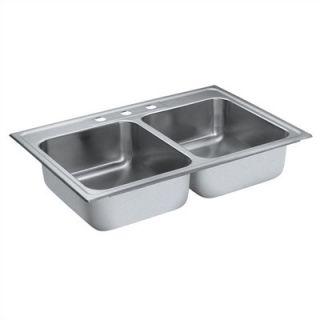 Moen Camelot 33 x 22 Equal Double Bowl Drop In Sink