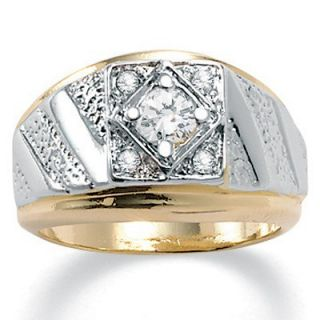 Palm Beach Jewelry Mens 14K Crystal Gold   Plated Ring   138