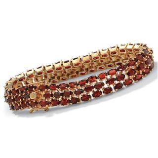 Palm Beach Jewelry 14k Gold Plated Triple Row Garnet Tennis Bracelet