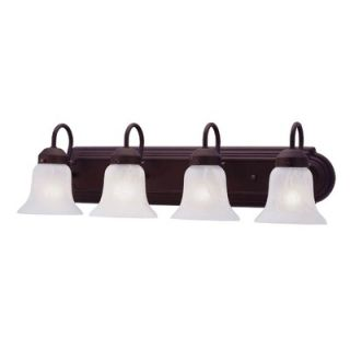 Livex Lighting Four Light Vanity Light with White Alabaster Glass in