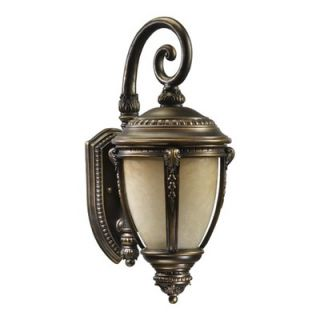 Quorum Pemberton Wall Lantern with Scavo Glass Shade in Bronze Patina