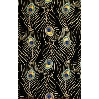 KAS Oriental Rugs Catalina Black Peacock Feathers Novelty Rug   0738