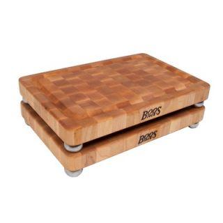 John Boos BoosBlock Maple Cutting Board with Stainless Steel Bun Feet
