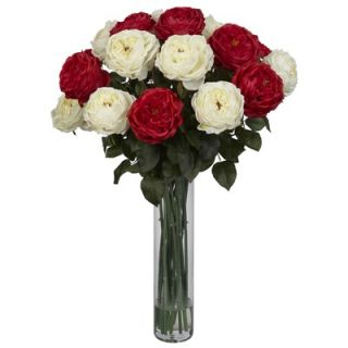 Nearly Natural Fancy Rose Silk Flower Arrangement in Red / White