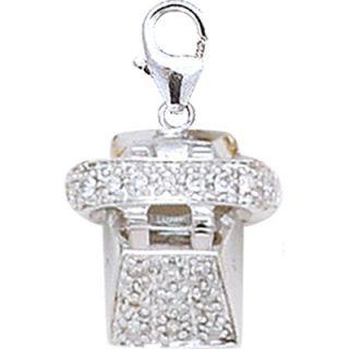 EZ Charms 14K White Gold Diamond Telephone Charm