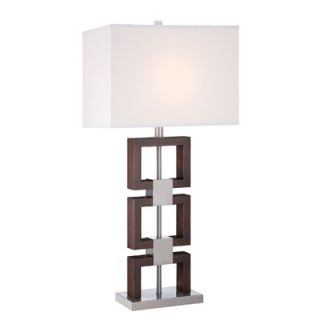 Lite Source Nizanna One Light Table Lamp in Polished Steel/Dark Walnut