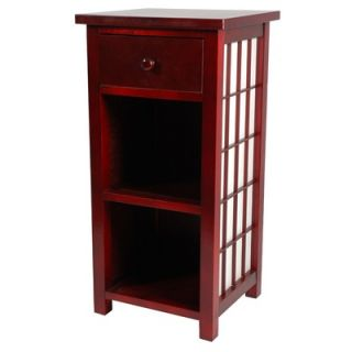 Oriental Furniture Shoji End Table with Shelves in Rosewood