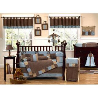 Sweet Jojo Designs Soho Blue and Brown Crib Bedding Collection