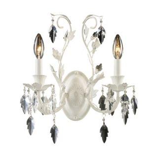 Elk Lighting Crystal Leaf Two Light Wall Sconce in Antique White