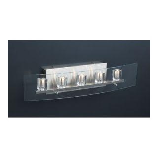 PLC Lighting Ice Cube Five Light Vanity Light in Satin Nickel