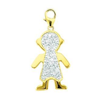 EZ Charms 14K Yellow Gold Diamond Boy Charm