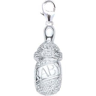EZ Charms 14K White Gold Diamond Baby Bottle Charm