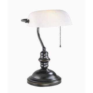Lite Source Bankers Lamp in Dark Bronze with Frosted Glass