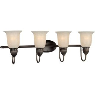 Forte Lighting Four Light Vanity Light with Mica Shade in Antique