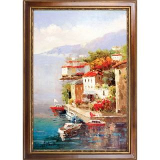 Hokku Designs Busy Marina Hand Painted Oil Canvas Art with Frame