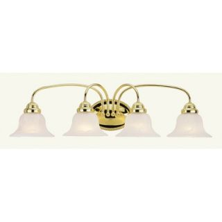 Livex Lighting Edgemont Four Light Vanity Light in Polished Brass