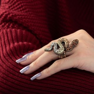 Vintage Gold Plated Stretch Pave Rhinestone Snake Cocktail Ring