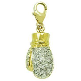 EZ Charms 14K Yellow Gold Diamond Boxing Glove Charm