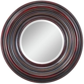 Cooper Classics Koch Mirror in Distressed Aged Black with Merlot and