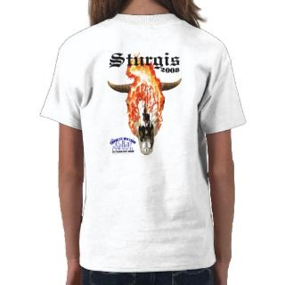 STURGIS 2008 Flaming Skull   Kids White Tee Shirt