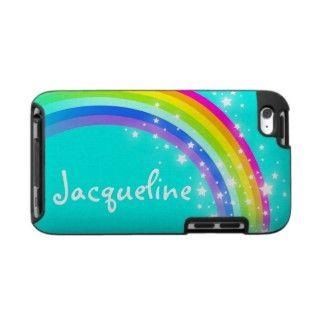 Your name (10 letter) rainbow aqua ipod case