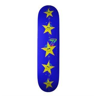 Girls Smiley Stars Number 7 Skateboard