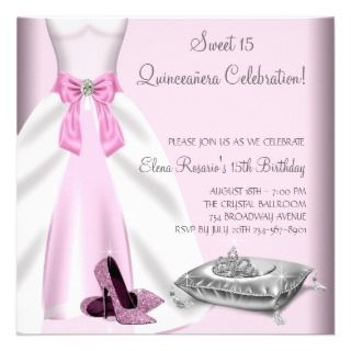tiara quinceanera sweet 15 15th birthday party invitation this pretty